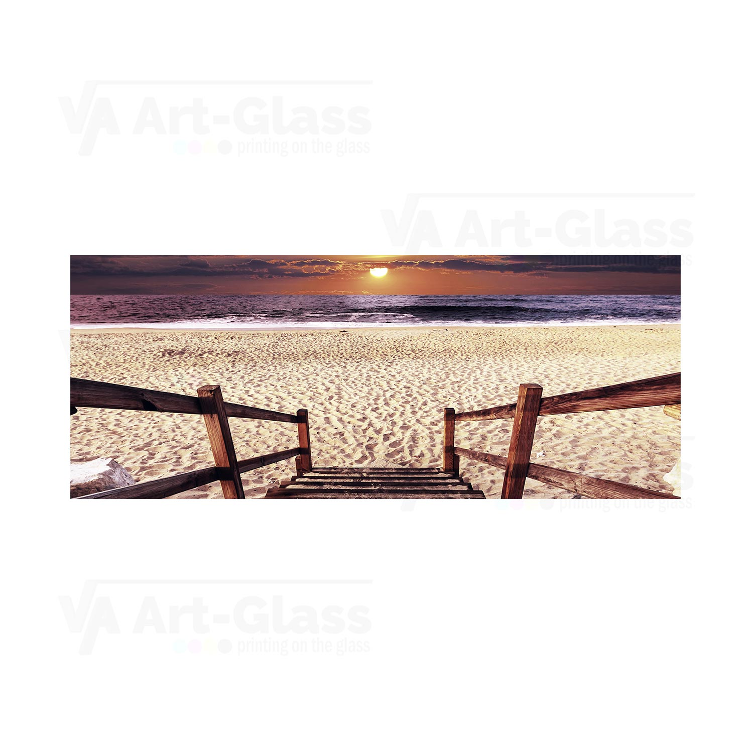 glass picture with a boardwalk on the beach size cm 125x50 va art glass. Black Bedroom Furniture Sets. Home Design Ideas