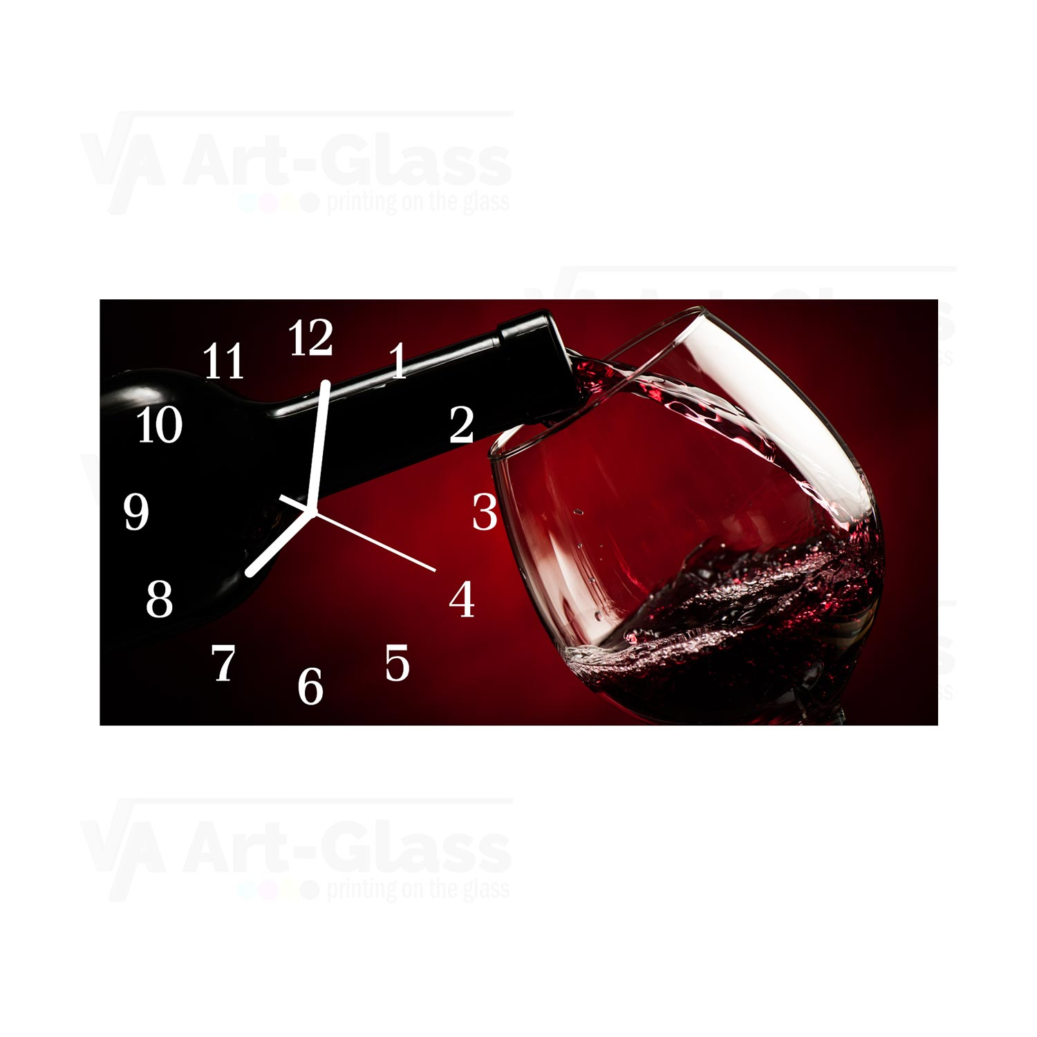 wall clock with a red wine glass size cm 60x30 va art glass. Black Bedroom Furniture Sets. Home Design Ideas