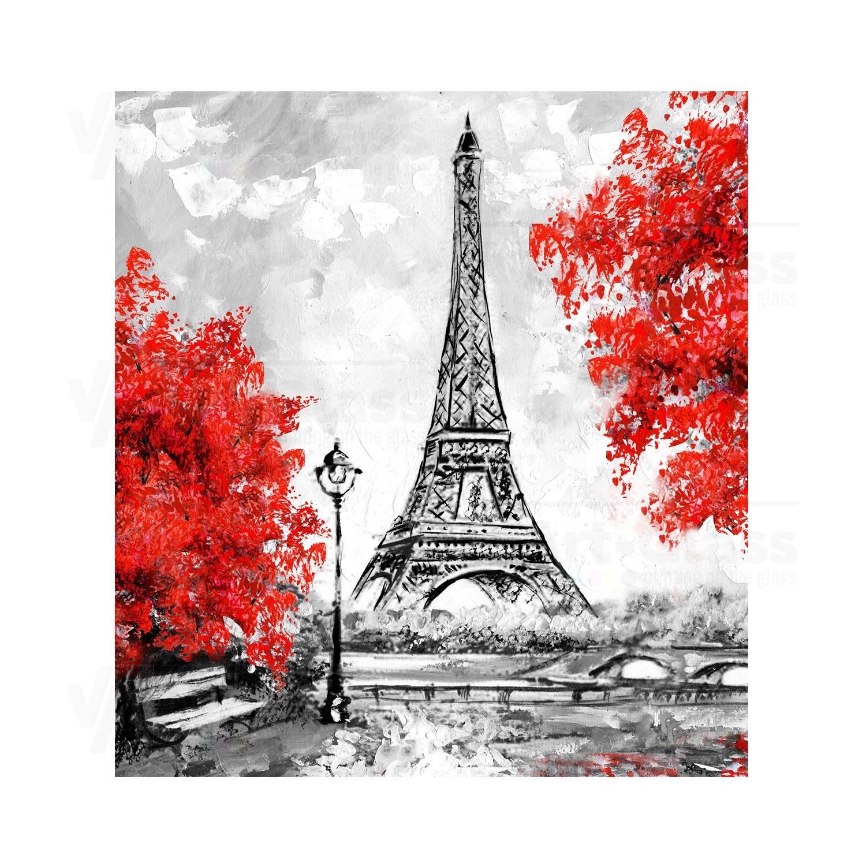 Oil Painting Paris European City Landscape France Wallpaper Eiffel Tower Black White And Red Modern Art Trees 80a Va Art Glass