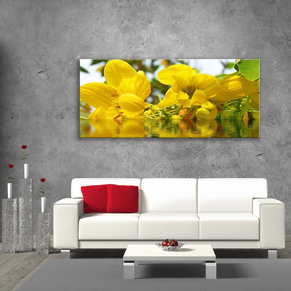 Glass Picture with Yellow Flowers size (cm) 125x50 | VA Art Glass