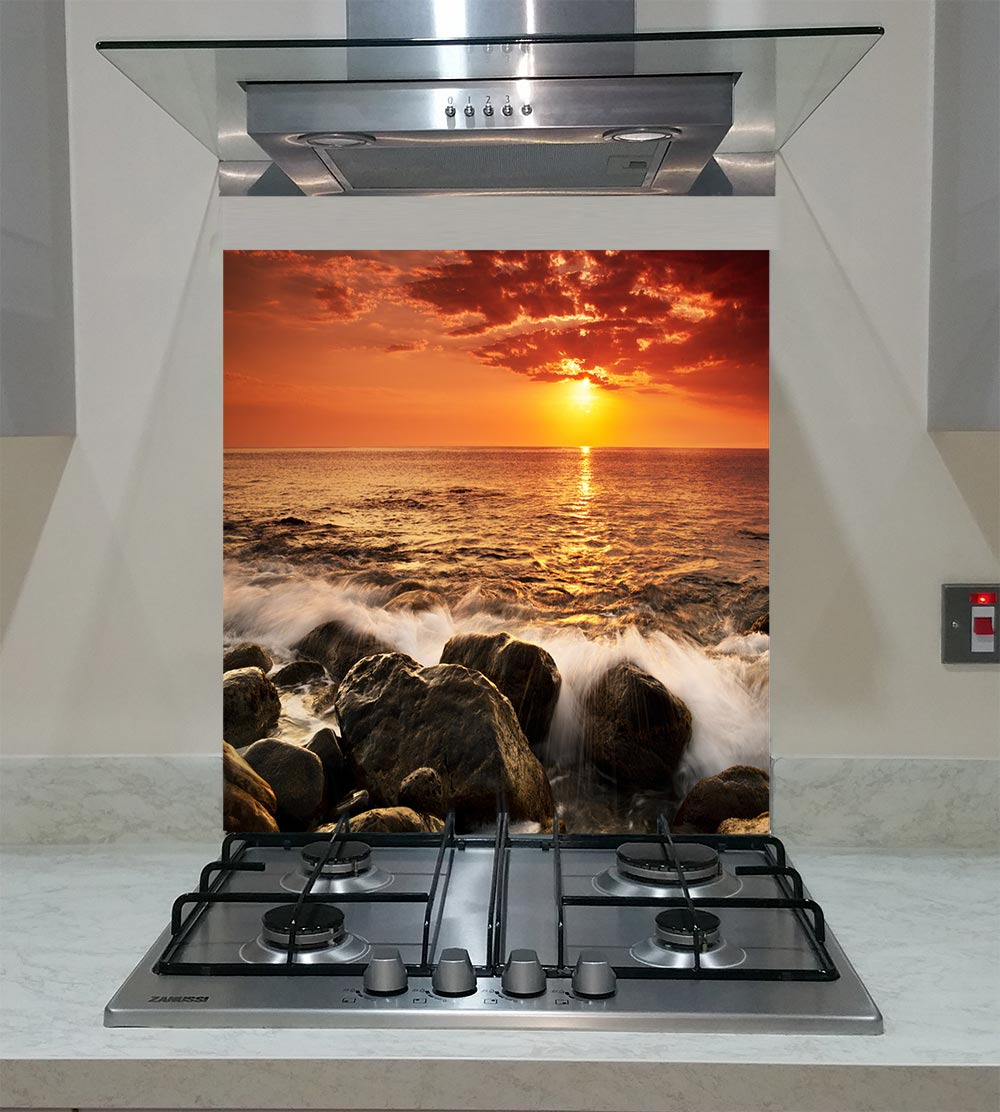 55cm Diameter Adjustable Height 60 75 Cm Coffee Table: Splashback With The Sunset Over Sea ANY SIZE