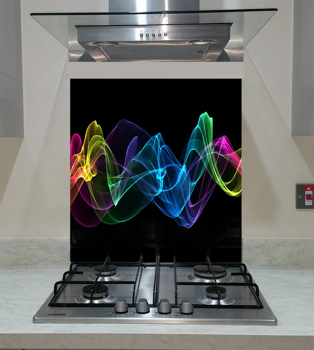 55cm Diameter Adjustable Height 60 75 Cm Coffee Table: Splashback With Abstract Ribbon Waves ANY SIZE
