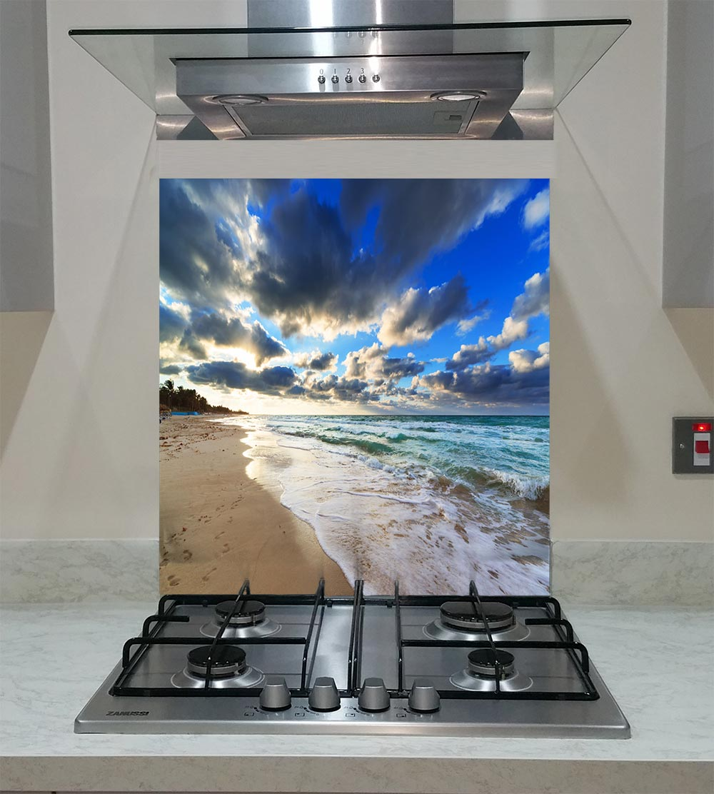 55cm Diameter Adjustable Height 60 75 Cm Coffee Table: Splashback With The Beautiful Sunset Over Sea ANY SIZE