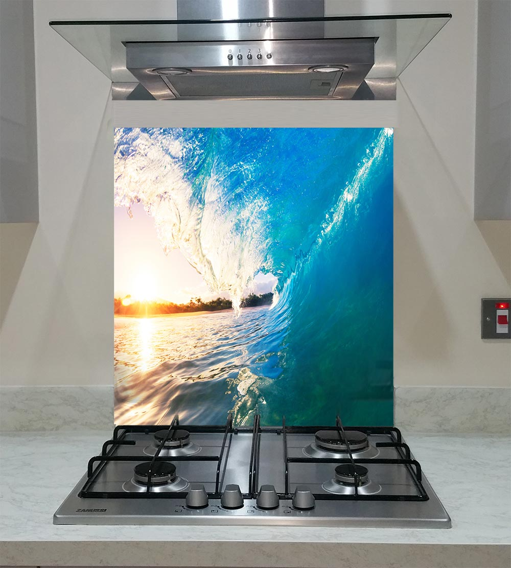 55cm Diameter Adjustable Height 60 75 Cm Coffee Table: Splashback With Sea Waves ANY SIZE