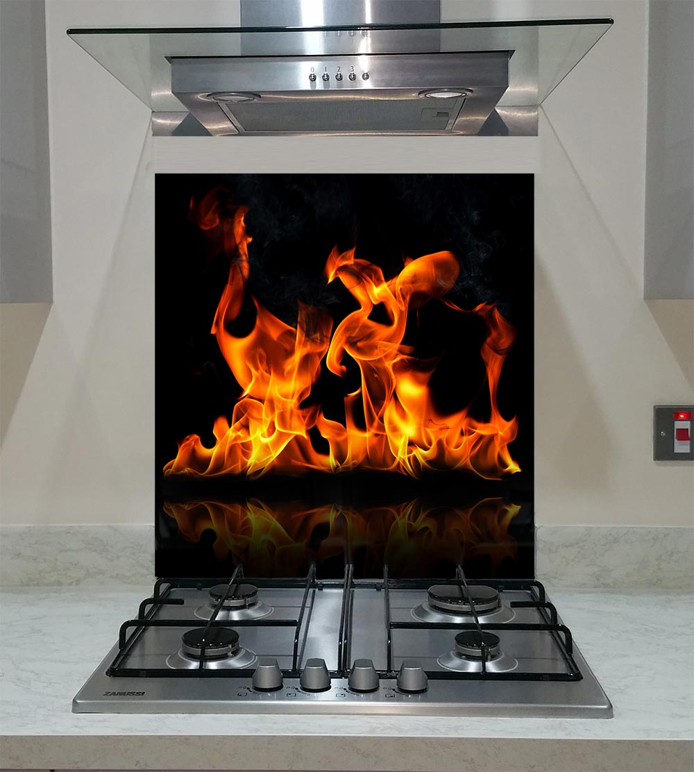 55cm Diameter Adjustable Height 60 75 Cm Coffee Table: Splashback With Fire Flames On A Black Background ANY SIZE