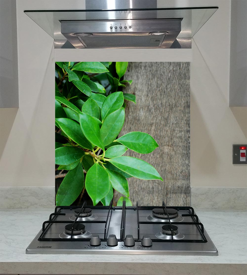 55cm Diameter Adjustable Height 60 75 Cm Coffee Table: Splashback With Green Leaves On The Wooden Board ANY SIZE