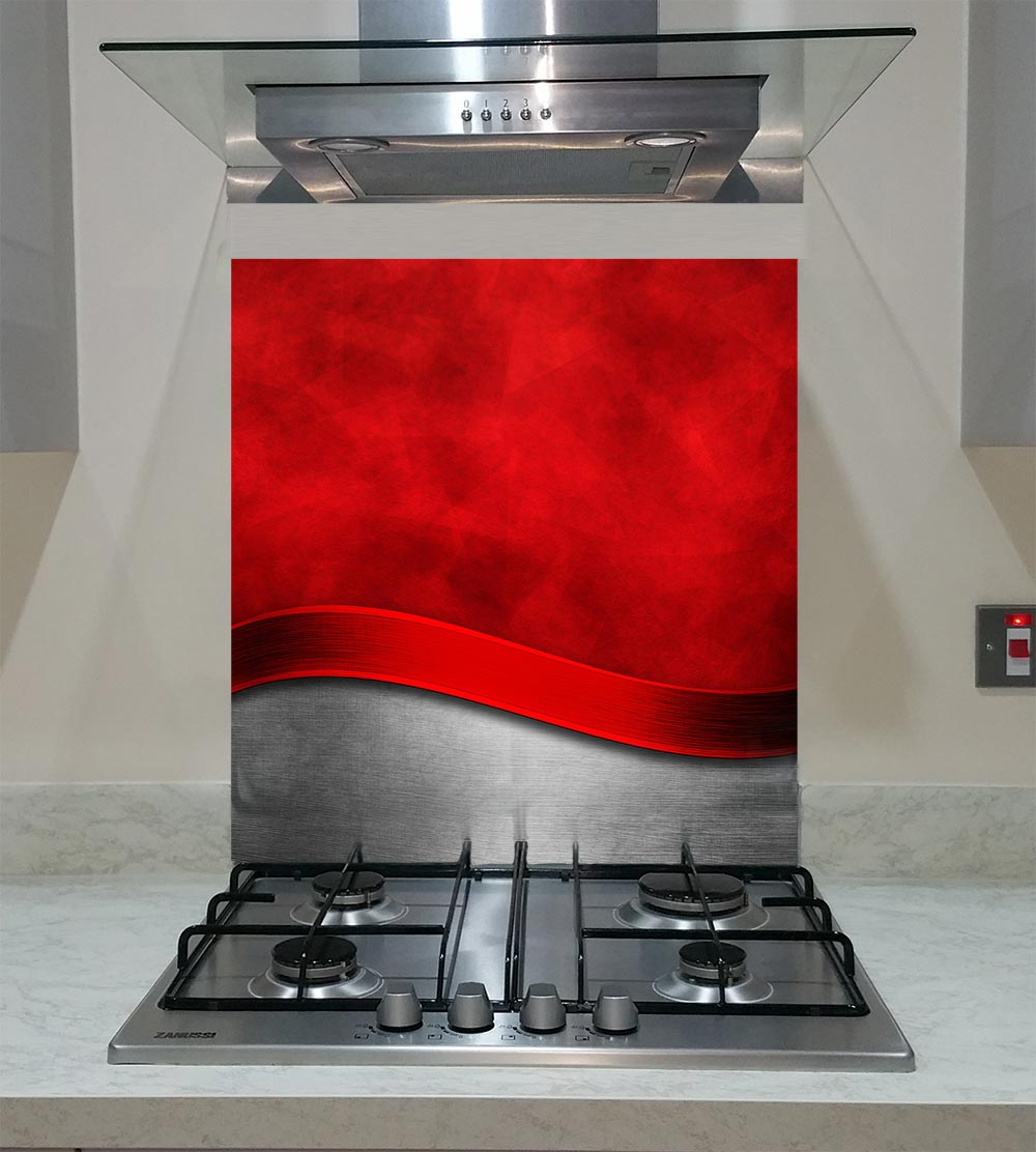 55cm Diameter Adjustable Height 60 75 Cm Coffee Table: Splashback With A Red Metal Template With Curve Pattern