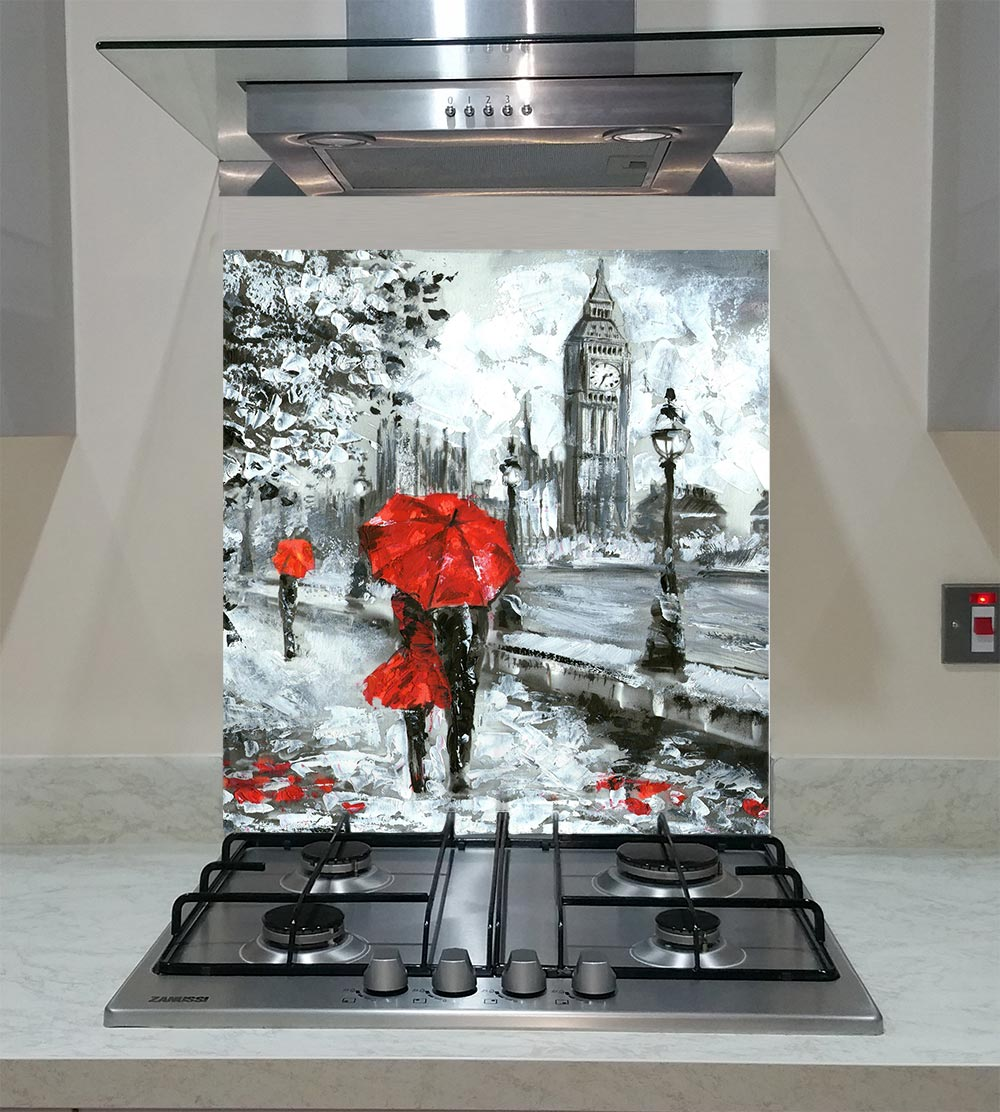 55cm Diameter Adjustable Height 60 75 Cm Coffee Table: Splashback With The Street View Of London Big Ben ANY SIZE