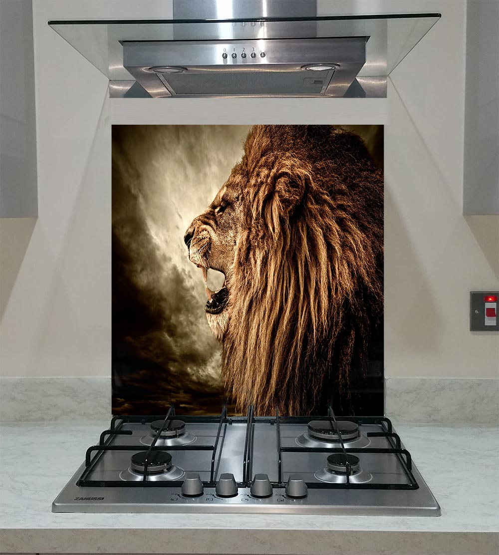 55cm Diameter Adjustable Height 60 75 Cm Coffee Table: Splashback With A Roaring Lion Against Stormy Sky ANY SIZE