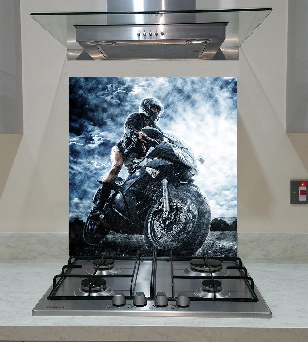 55cm Diameter Adjustable Height 60 75 Cm Coffee Table: Splashback With A Motorbike Female Rider ANY SIZE