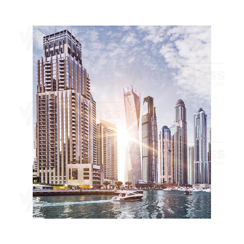 55cm Diameter Adjustable Height 60 75 Cm Coffee Table: Splashback With A Skyline Of Dubai Marina ANY SIZE