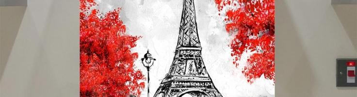 Oil Painting Paris European City Landscape France Wallpaper Eiffel Tower Black White And Red Modern Art Trees 80 Va Art Glass
